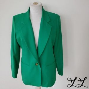 Vintage Alfred Dunner Blazer Green Gold 80s Sexy
